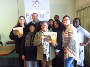 Dr Sindiwe Magona and Marlene Rousseau with the staff of Biblionef